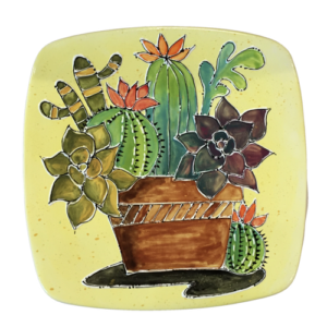 succulent watercolor platter