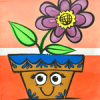 flower pot birthday canvas